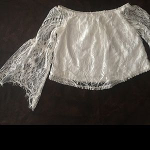 Super cute white lace tops, bell sleeves